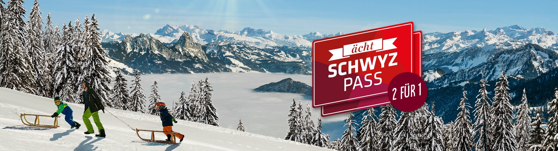 """Schneebedeckte Hügel im Kanton Schwyz für """"ächt SCHWYZ""""-Winterpass"""