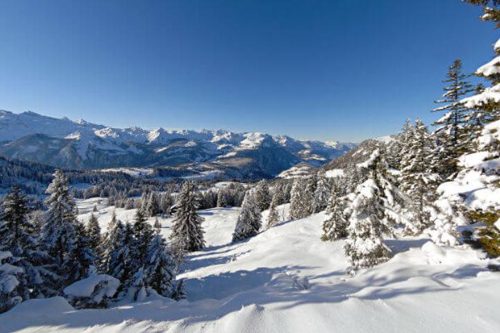 """""""ächt SCHWYZ""""-Winterpass 2021 - Package Swiss-Chalet Merlischachen - Bergsicht im Kanton Schwyz im Winter"""